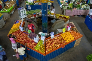 """"""" The markets in the city were filled with piles of both familiar and unfamiliar fruits, vegetables, spices, herbs, and nuts."""" Kelly Ledford"""