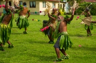 """""""The dancers (matana) may be men performing a war dance with decorated spears, or women performing a slow, smooth dance with woven fans as they sit."""" Kendra Hein, 2014 Fellow"""